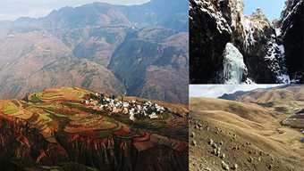 ทัวร์จีน ตงชวน  ภูเขาทุ่งหญ้าสีทอง อู๋เหมินซาน  นาขั้นบันไดหลากสีสัน ภูเขาหิมะเจี่ยวจี้