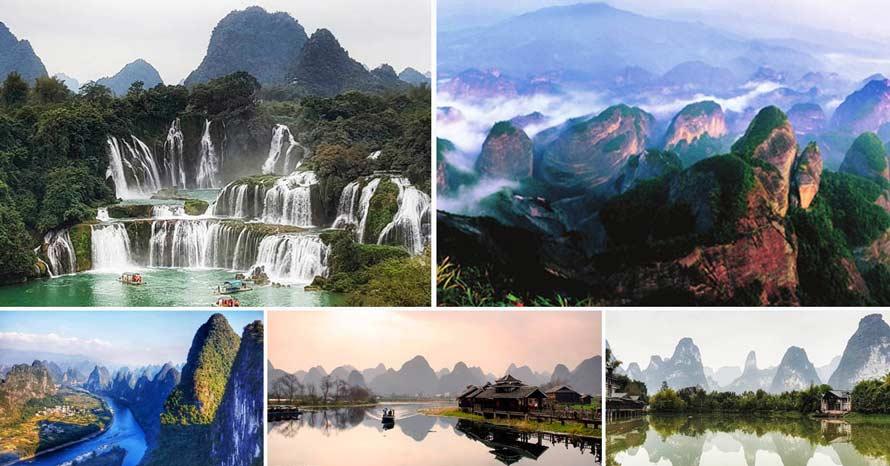 ทัวร์น้ำตกเต๋อเทียน อุทยานหลางซาน ภูเขาแปดเหลี่ยม มรกดกโลก UNESCO